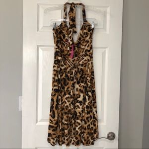 Demi Loon Dresses - Demi Loon Leopard Pin Up Halter Dress